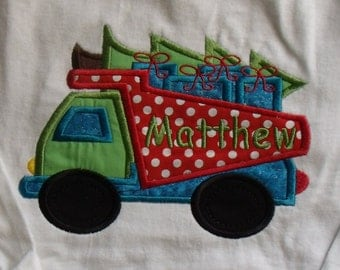 Boutique Boy's  Christmas tree Truck Shirt Sizes 3M to 14 youth