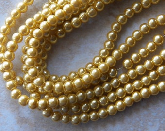 6mm Lemon Chiffon Glass Pearl Beads , 100 PC (INDOC146)