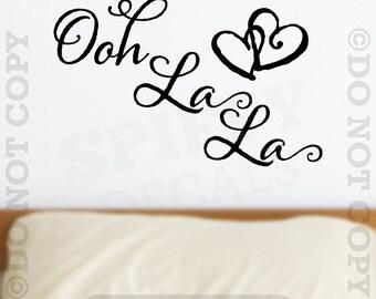Ooh La La Removable Paris France Hearts Love Quote Wall Decal Sticker Decor