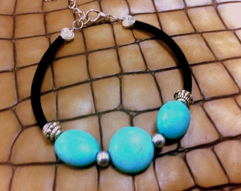 Simply turquoise stones bracelet,velvet tube on memory card,fashion bracelet.