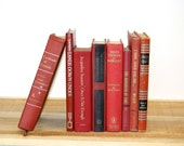Reserved Lisa 3 Books Vintage Books Home Decor Red  Shades Instant Collection