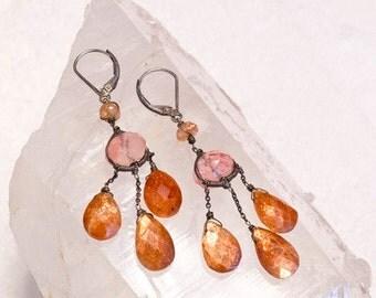 SALE-Coral Color Beaded Vintage Chandelier Earrings-Sterling Silver