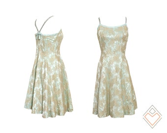 1960s Semont Originals vintage fit and flare party dress // lace and mint satin with rhinestones // size small