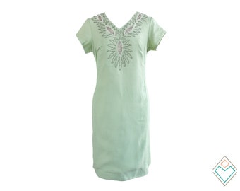 1960s indian inspired silk shift dress with cut-outs and beading // pale mint vintage dress // size large - XL