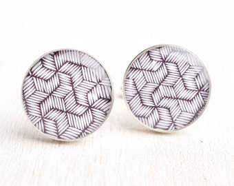Modern Star Pattern Cufflinks - Stainless Steel Black and White Print Cuff Links