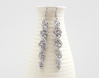 Inverted spiral chainmail earrings, silver aluminum