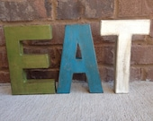 """12"""" Painted Distressed Letters. EAT letters.  Look of Aged Metal Industrial Letters. Typography.  Vintage Inspired Letters"""