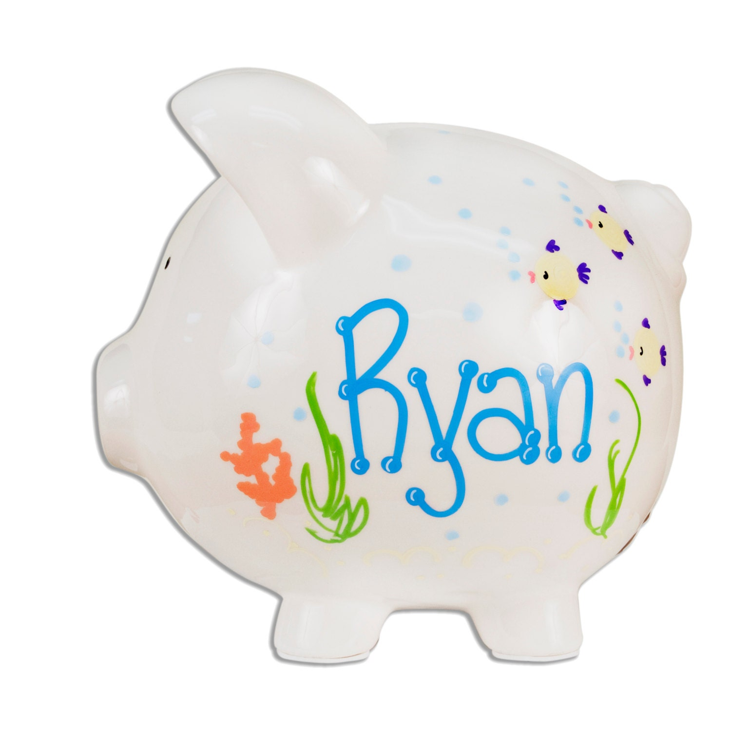 Hand painted personalized ceramic piggy bank sea life design for How to paint a ceramic piggy bank