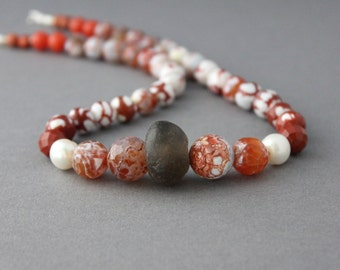 orange chunky necklace agate beaded necklace rust agate jasper jade pearl trade bead