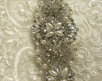 rhinestone beaded bridal applique, crystal applique, bridal headpiece applique, wedding applique, bridal sash applique