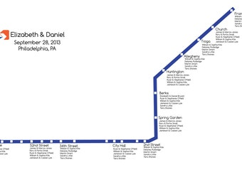 Seating Chart  Philadelphia Subway Wedding (or Party) Seating Chart (Blue, Orange, Red Lines)