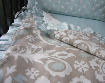 Baby Bedding Crib Quilt and Crib Bumper  Grey White Blue Modern  Set