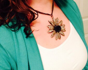 Bold Flower Pendant Necklace Sparkly Flower Pendant Statement Necklace