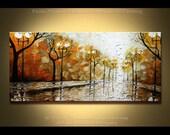 "Painting 48"" Park at Night - Original Oil Palette Knife texture Modern style, luxury looks, thick layers, Paula Nizamas"