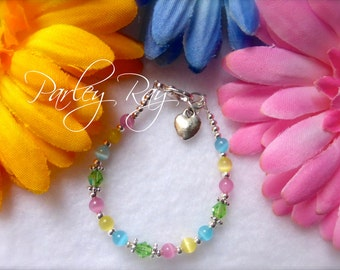 Parley Ray  Baby Girls Easter Bracelet Cat Eye Beads and Crystals with Heart Charm