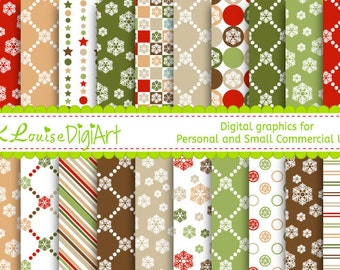 20 Digital Papers Colourful Christmas Snowflakes Patterned Papers for Personal Use and Small Commercial Use H075