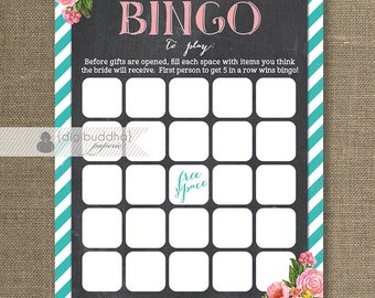 Pink and Teal Bridal Shower Bingo 5x7 Shabby Chic Roses Chalkboard Bridal Shower Game Card Printed Bingo Cards - Leah
