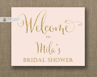 Blush Pink & Gold Glitter Welcome Sign Bridal Shower Wedding Buffet Food Table Sign Printable 8x10 DIY Digital or Printed - Mila
