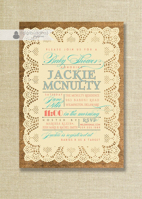 lace burlap baby shower invitation vintage rustic coral turquoise