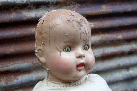 Antique Toy Baby Doll Little Boy Victorian with Opening Eyes Creepy Scarey Halloween Prop or Decoration Zombie Child - TheOldTimeJunkShop