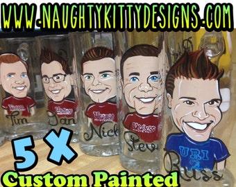 5 - Caricature Beer Mugs, Personalized, Hand-Painted Beer Steins, Groomsmen Gift, Wedding Party Mugs