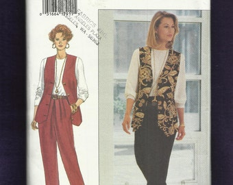Butterick 3159 Tapered Leg Pleated Pants Long Vest & Tee Shirt Sizes 18-20-22 UNCUT