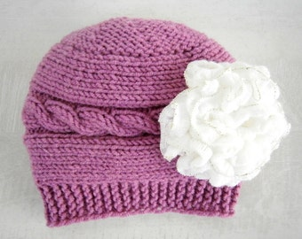 Newborn hat -Baby Winter Hat-Baby Girl Hat - Baby Girl Knit Hat - Knit Newborn Hat