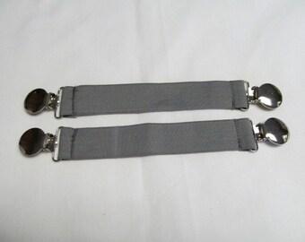 Gray Elastic Mitten Clips