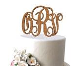 Rustic Cork Monogram Cake Topper, Classic Monogram Vine Style