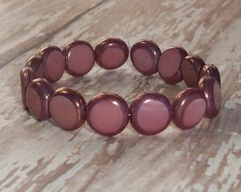 Mauve Czech Glass 10mm Bead Coin Pink Bronze MAUVEINE (10)
