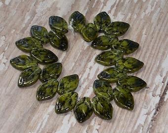Green Leaves Bead 12x7mm Czech Glass Leaf Olive Black Carved MEDITERRANEAN FLORA (15)