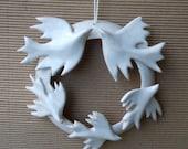 Circle of love. love and life . Indoor Wreath White Winter  Wreath.   Wedding Favor.  Love birds . White bird flock.