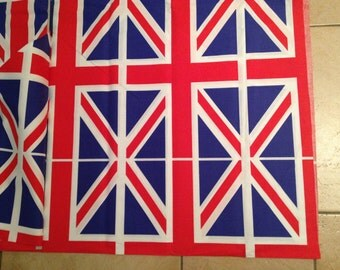 Red White Blue Union Jack Flag Cotton Fabric x one yard