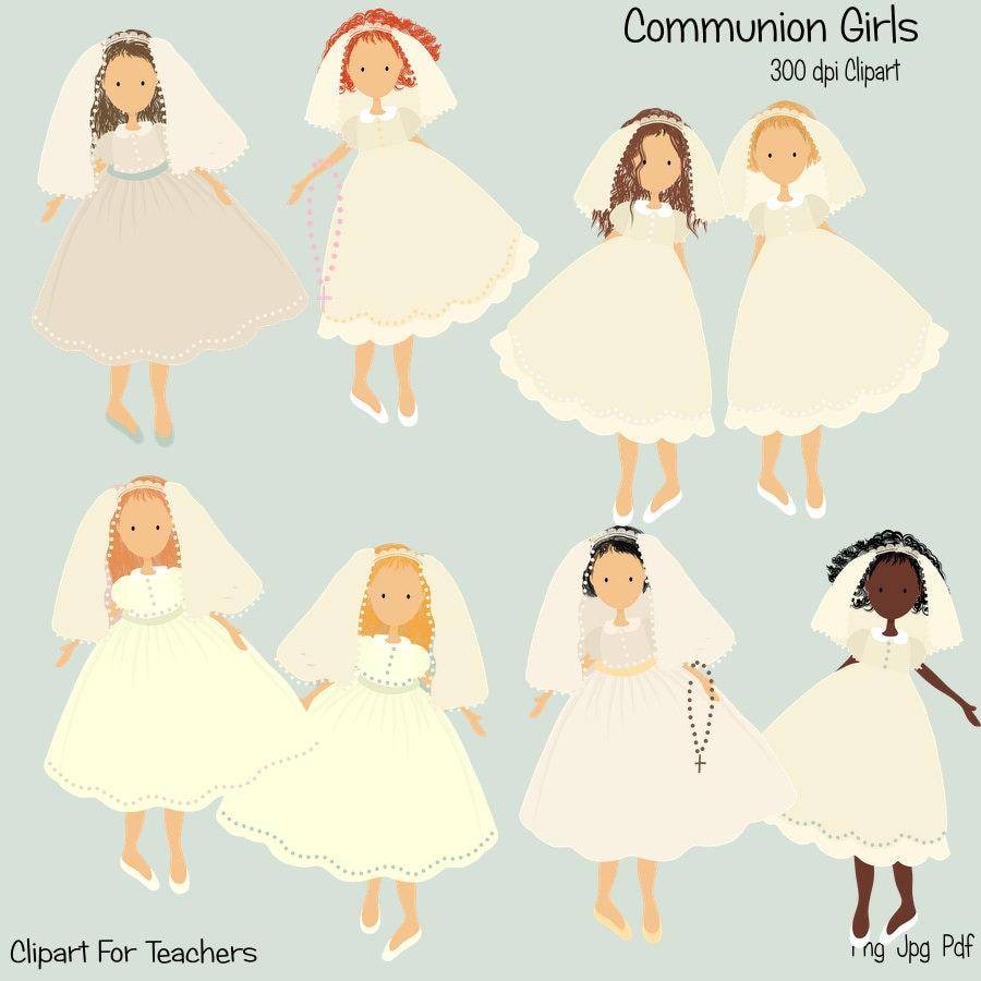 Communion Clipart, Communion Girl, Instant download, Christian ... for Communion Girl Clipart  70ref