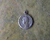 Antique religious medal, St Bernadette, Patron saint medals, Catholic jewelry, Lourdes souvenir