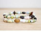 Whimsical Bracelet Set, Made From Recycled Paper Beads, Whimsical Jewelry, Pastel Bracelet, Spring Bracelet, Elementary School Teacher