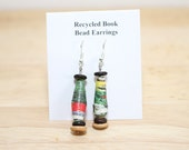 Paper Bead Recycled Earrings, Handmade Recycled Book Bead Earrings, Jack and the Beanstalk