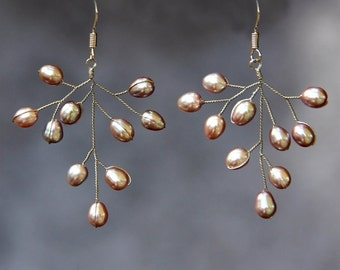 Bronze pearl sterling silver branch chandelier earrings Free US Shipping handmade Anni Designs