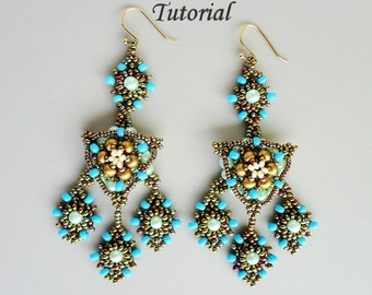 ARABIAN NIGHT beaded earrings beading tutorials and patterns seed bead beadwork jewelry beadweaving tutorials beading pattern instructions