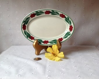 Vintage McNicol Restaurant China C70 Tip Tray Trimmed with Cranberry Flowers and Green Leaves