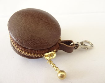 Chocolate brown Genuine sheep skin leather macaron/macaroon coin case