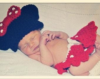 Crochet Minnie Mouse Outfit (beanie/hat, diaper cover, Mary Jane booties)
