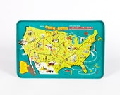 Repogle Play Tray USA Map Metal TV Tray Vintage Board Game Wall Hanging Kids Room