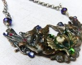 GARGOYLE & DRAGON Collar Necklace - Amazing brass and copper collar with Swarovski crystals