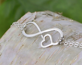 Infinity Heart Bracelet - Infinity Bracelet - Silver Bracelet - Bridesmaid Gift - Infinity Jewelry - Heart Jewelry