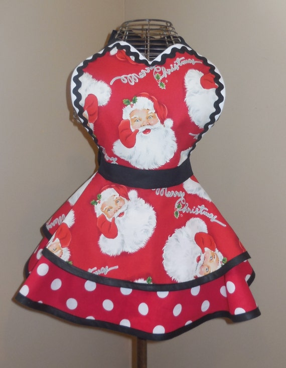 Santa claus print childs retro baking apron with tiered skirt