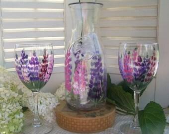 Maine Lupine, Wine glasses, Karafe hand painted