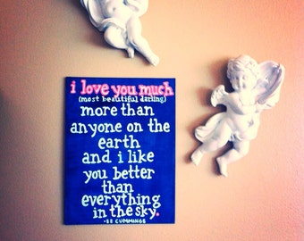 Painted Quote Canvas - EE Cummings - Love