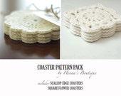 Crochet Coaster Pattern Pack - 2 Crochet Coasters - PDF