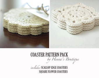 Crochet Coaster Pattern Pack - 2 Crochet Coasters - PDF